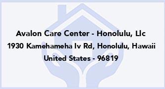 Avalon Care Center - Honolulu, Llc