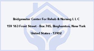 Bridgewater Center For Rehab & Nursing L L C