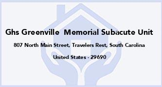 Ghs Greenville  Memorial Subacute Unit