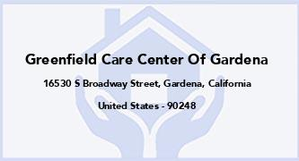 Greenfield Care Center Of Gardena