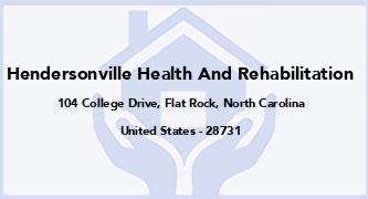 Hendersonville Health And Rehabilitation