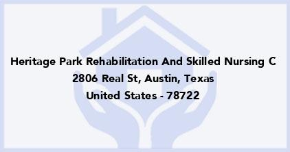 Heritage Park Rehabilitation And Skilled Nursing C