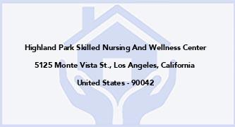 Highland Park Skilled Nursing And Wellness Center