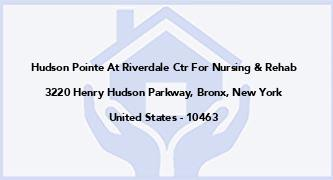 Hudson Pointe At Riverdale Ctr For Nursing & Rehab