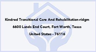 Kindred Transitional Care And Rehabilitation-Ridgm