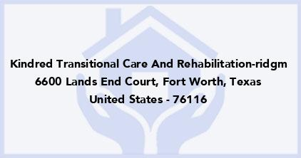 Kindred Transitional Care And Rehabilitation-Ridgm