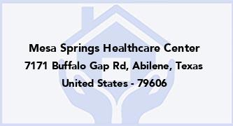 Mesa Springs Healthcare Center