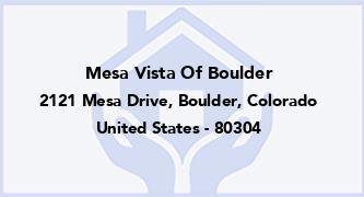 Mesa Vista Of Boulder