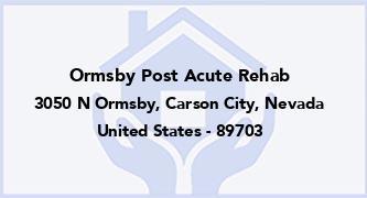 Ormsby Post Acute Rehab
