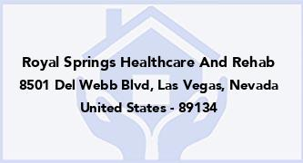 Royal Springs Healthcare And Rehab