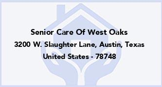 Senior Care Of West Oaks