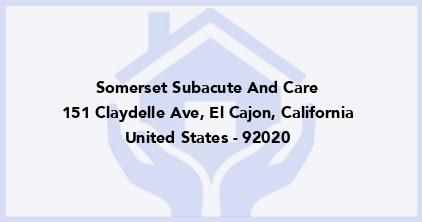 Somerset Subacute And Care