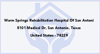 Warm Springs Rehabilitation Hospital Of San Antoni